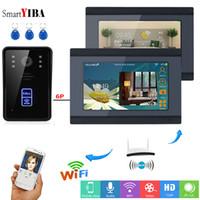 desbloquear o porta-voz sem fio venda por atacado-SmartYIBA APP Controle RFID Vídeo Porteiro 7 Polegada Wi-fi Sem Fio Vídeo Porteiro Campainha Desbloqueio Intercom KIT 1 Câmera 2 Monitor