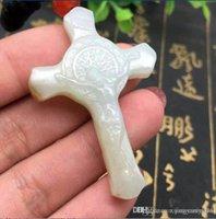 cruz de jade branco venda por atacado-Natural genuíno e Hetian jade branco jade, Jesus cruz pingente religioso, homens e mulheres pingente de Pingente