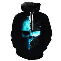 ingrosso cotone uomo con cappuccio-Mens 2019 Designer abiti di lusso 3D Skull Warrior Stampa Casual Felpa con cappuccio Young Men Fashion Hipster Felpa Designer Hoodies