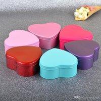 şeklinde teneke kutu toptan satış-Nikah Şekeri Kutusu Yaratıcı 7x7cm Tin Tin Kalp Shape Kutular 6 Renk Parti Hediye Şekerler Çikolata Favor Sahipleri Kutular Toptan 0047pack