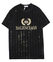 t de strass venda por atacado-9102 novo tee preto bb homens mulheres letra dourada logotipo bordado strass T-Shirt de manga curta O-pescoço T-Shirt atacado S-XXL