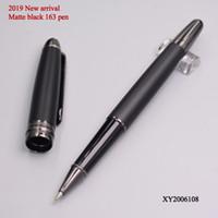 ingrosso rullo di mb-Lusso Meister 163 Matte Black Roller Ball Pen Stationery Office Business MB Marca Classic School Ricarica scrivere penne per il regalo dello studente