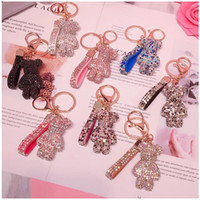 Wholesale bears keychain resale online - Key Ring PVC Keychain DIY Craft Cartoon Bear Handmade Rhinestone Crystal Key Chains Charm Pendant Keychains For Women Gifts