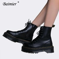 плоские ботинки лодыжки платформы оптовых-Baimier Black  boots women Thick platform Lace up ankle boots women Keep warm in winter flat shoes