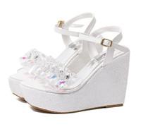 cuñas de dama de honor al por mayor-Zapatos de boda de la Cruz Azul de tiras blancas plataforma de la cuña sandalias peep toe de dama de tamaño de los zapatos 34 a 39