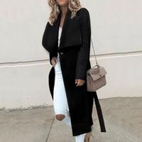 abrigo largo de lana para damas al por mayor-Europa américa estilo abrigo de invierno de manga larga de lana abrigo de lana abrigos largos para las mujeres femeninas señoras ropa de moda abrigo chaqueta