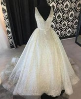 vestido profundo v venda por atacado-Branco faísca Lantejoula Vestidos profundo decote em V Sexy Low Back Longo vestido de baile barato Pageant Vestidos Wear Ocasiões especiais