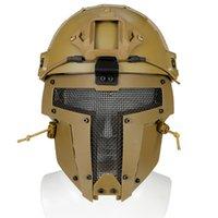 mascarilla ventilador al por mayor-Nuevo exterior Casco marrón Malla deportivo Moto Casco Mascarilla facial Ejército Fan