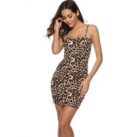 Wholesale leopard print wedding dresses resale online - Women Dresses Summer Leopard Print Dress Bodycorn Wedding Bridesmaid Dress for Women Formal High Waist One step Casual Dresses