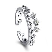 neue verstellbare moderinge großhandel-925 Silber Krone Ringe Frauen Hochzeit Schmuck Einstellbare Fingerring Frauen Mädchen Schmuck Weibliche Mode-accessoires großhandel