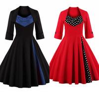 ingrosso abito nero per le grandi donne-Nero più di formato stampa floreale del vestito dalle donne annata 2019 Autunno Rockabilly Patchwork Big Swing una linea di abiti Abiti Femminile FS0493