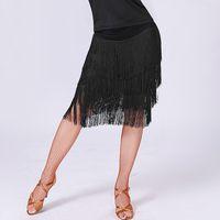 damen ballsaal latin kleid großhandel-Latin Rock Dance Woman Ladies 4 Schichten Fringe Latin Tango Ballsaal Salsa Performance Dance Dress 3 Farbe Ballsaal Kostüm