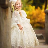 fildişi ayak bileği uzunluğu gelinlik toptan satış-Fildişi Dantel Boncuklu Küçük Kızlar Pageant elbise Balo Uzun Kollu Çiçek Kız Elbise Düğün Için Ayak Bileği Uzunluk İlk Komünyon törenlerinde
