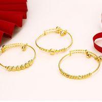 ingrosso campane di braccialetti del bambino-MGFam (112BA) Braccialetti a campana e braccialetti per le ragazze dei ragazzi Regali per bambini (regolati) Gioielli di moda placcati oro puro 24K