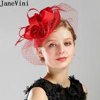 büyüleyici için siyah perde toptan satış-Toptan Vintage Birdcage Şapka Peçe Beyaz Siyah Tüyler Gelin Fascinator Düğün Şapka Headdress Akşam Yemeği Saç