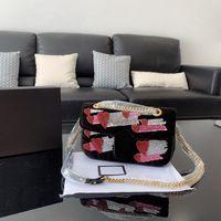 schwarze perlen zum verkauf großhandel-Ts gg metall logo perlen samt tasche heißer verkauf damen designer luxus handtaschen geldbörsen umhängetasche schwarz blau rosa tsysbb200