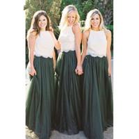 elfenbein hochzeitskleid grün großhandel-Modest Forest Green Tüll Brautjungfernkleider Zweiteiler Elfenbein Spitze Top Eine Linie Trauzeugin Hochzeitsgast Kleid Abendkleid