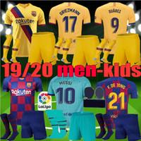 setzt messi großhandel-2019 2020 MEN KID Barcelona Fußball-Trikot Suárez dritte Kits 19 20 Barca Messi DE JONG Griezmann Rakitic Fußball-Hemd für Erwachsene Jugend Sets