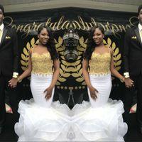 ingrosso abito da sera nero di gala-Black Girl White Prom Dresses 2019 Mermaid Lungo Applique Spaghetti Strap Evening Party Abiti Gala vestido de festa Custom Made