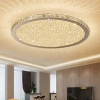 ingrosso luce luminosa camera da letto-Plafoniere moderne a LED in cristallo per soggiorno Lampade da letto per la casa Lampade da soffitto in acciaio inossidabile con regolazione a distanza