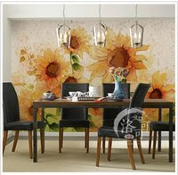 Wholesale chinese kitchen decorations resale online - Abstract sunflower wallpaper bedroom bedside background wallpaper hand painted sunshine TV wall decoration words seamless wallpaper