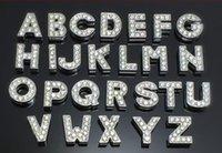 armband bling buchstaben großhandel-8mm A-Z voller Strasssteine Bling Slide-Buchstaben DIY Zubehör passen für 8mm Halsband Lederarmband