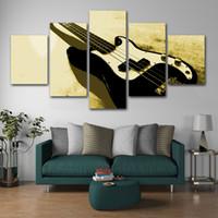 guitarra de cartazes venda por atacado-Decoração de casa Arte Da Parede Da Lona 5 Peças Pintura Abstrata Guitarra Imagem Modular Aquarela Impresso Cartaz Para Quarto Quadro