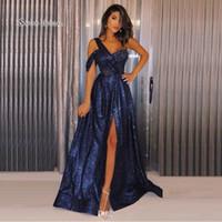 kolsuz omuz boncuk elbise toptan satış-Zarif Seksi Boncuk Bir Omuz Bölünmüş eşittir Gelinlik Modelleri Kolsuz High End Kalite Akşam Parti Elbise Sıcak Satış
