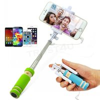 Wholesale wired monopod resale online - NEW Foldable Super Mini Wired Selfie Stick Handheld Extendable Monopod wired shutter Handle Compatible with cell phone