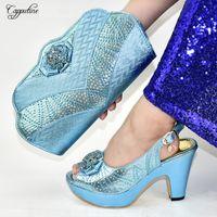 bolsos de bolsos cielo azul al por mayor-zapatos de tacón alto del partido diseño de lujo cielo azul y conjuntos bolso bolso de señora de la manera 9310-6 altura del talón 10.5CM