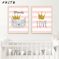 fotos de dibujos animados de bebés al por mayor-NDITB Nursery Canvas Wall Art Poster Cartoon Cat Crown Print Pintura minimalista Imagen decorativa Baby Girls Room Decoration