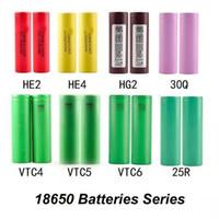 china tube grátis venda por atacado-Top qualidade 18650 bateria 25R Baterias de lítio recarregável - Real 2500mAh 20A elevados níveis de consumo Vape Mods Baterias Em Stoc DHL