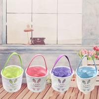 Wholesale purple blue bedding online - Rabbit Basket Easter Print Buckets Bag DIY Manual Canvas Student Purple Blue Abrasion Resistant Hot Sales cz C1