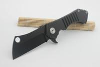 büyük kamp toptan satış-Yüksek Kaliteli Özel Büyük Alan Cleaver Katlanır Bıçak Siyah Mağdurlar 8Cr13Mov Blade Titanyum Kolu Taktik Survival Kamp Bıçak