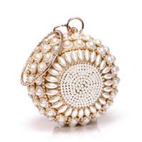 ingrosso portafogli perline-Pochette da sera elegante donna con catena rotonda perlina Bead tracolla Borse da donna Borse Portafogli per le nozze