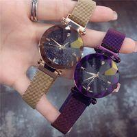damen-gürtel großhandel-2019 Neue Mode Frauen Uhr Dame Armbanduhr Dünne mesh gürtel uhren Magnetschnalle designer Luxus Quarz Blingbling Dial kostenloser versand