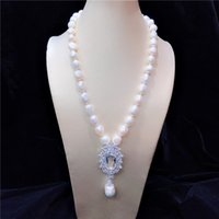 14k White Gold 10-11mm Grey Baroque Cultured Freshwater Pearl Necklace 18 inches