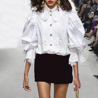 ingrosso abbigliamento pizzo-Top donna in pizzo patchwork e camicette manica flare bianca Slim Hollow Out Ruffles camicie da donna abiti eleganti nuovi