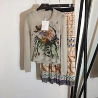 vestido de lã de pista venda por atacado-Designer de Outono 2019 Handmade Bordado 50% Blusas De Lã E Saias Longas Logotipo Da Pista De Milão 2 Peças Vestido 26782