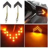 enciende las luces led de flecha al por mayor-2 piezas 14 SMD LED Luces de señal de giro del coche Paneles de flecha para el coche Espejo retrovisor Luces indicadoras Luz amarilla para Kia Bmw Toyota
