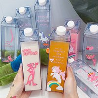 Wholesale plastic milk box resale online - Unique Mini Cute Water Bottles Milk Box Shape Transparent Plastic Cartoon Pink Panther Drink Bottle Coffee Beer Drinkware T8190627