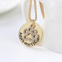 Wholesale animal rescue for sale - Group buy Adopt Don t Shop Animal lovers necklaces For Women crystal Cat dog claw Pendant Box chains Shelter Pet Rescue Fashion Jewelry Gift
