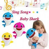 Wholesale wholesale children lighting online - Light Music Baby Shark cm Cute Animal Plush Baby Toy Singing Song Children LED Dolls Novelty Items OOA6255