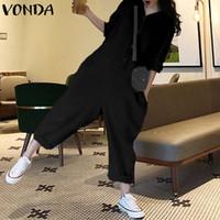 düğme bacağı toptan satış-Rompers Bayan Tulum 2019 VONDA Uzun Kollu Yaka Boyun Düğme Tulum Artı Boyutu Tulum Rahat Gevşek Geniş Bacak Pantolon