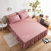 Wholesale ruffled pillowcases resale online - Solid Bedding Set Cotton Bedspread Pillowcases Korean Mattress Cover with Elastic Band Single Double Bed Skirt Sweet