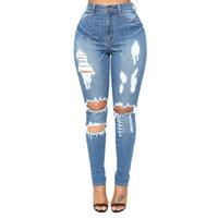 jeans de señora delgada al por mayor-Pantalones vaqueros nuevos: jeans ajustados, huecos, ajustados, de talle bajo y de talle alto en Europa y América.