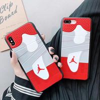 zapatos deportivos de silicona al por mayor-Resistente a caídas Caucho Funda de moda Baloncesto Zapatos deportivos Imprime silicona Teléfono Shell para iPhone XS Max X 7 8 Plus antideslizante 6.5 ''