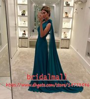 Wholesale white chiffon dress yellow pink resale online - Hunter Green Arabic Evening Dresses With Cape Pleats Chiffon Long Prom Dress Elegant One Shoulder Formal Party Gowns Robes de soiree