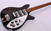 púas de guitarra blanca al por mayor-Rare Short Scale RIC John Lennon 325 Jetglo Black Semi Hollow Guitarra eléctrica Gloss Fretboard, Accent Vibrato, Double Tier White Pick guard