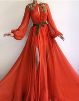 vestidos largos de encaje de gasa espalda al por mayor-Nuevo diseño Vestidos de baile 219 Gasa Una línea Cuello de joya Mangas llenas Apliques de encaje Vestido de noche largo Vestidos largos hasta el suelo robe de soiree